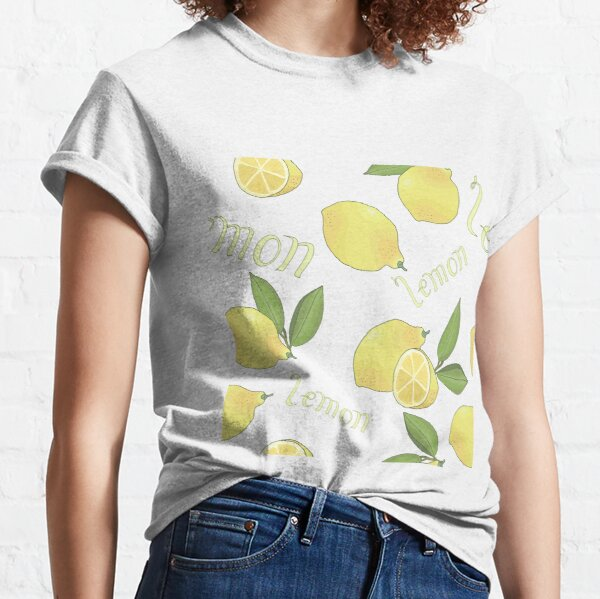 seamless pattern with tasty ripe lemons green leaves and lettering Classic T-Shirt