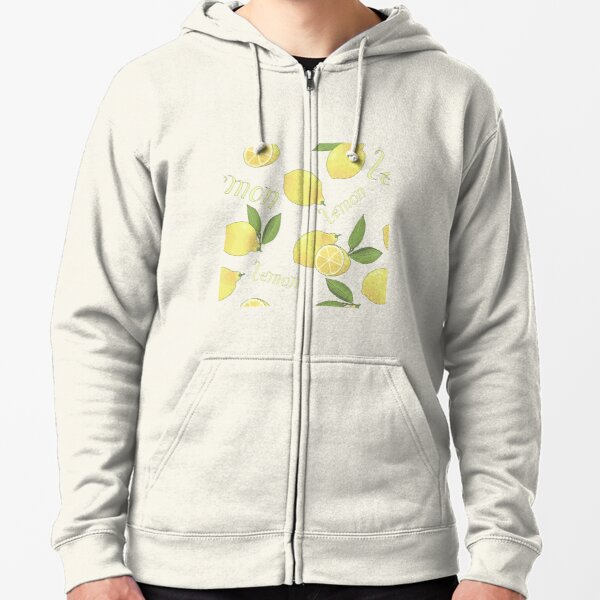 seamless pattern with tasty ripe lemons green leaves and lettering Zipped Hoodie