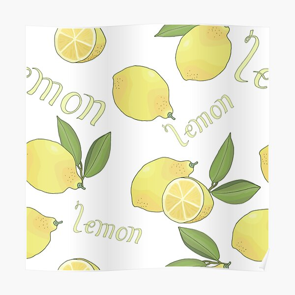 seamless pattern with tasty ripe lemons green leaves and lettering Poster