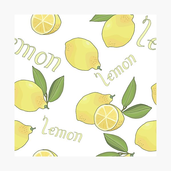 seamless pattern with tasty ripe lemons green leaves and lettering Photographic Print