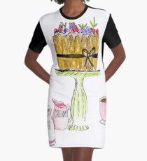 Watercolor Charlotte French Dessert With Coffee Graphic T-Shirt Dress
