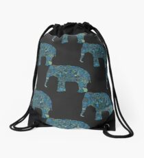 seamless pattern with the patterned elephants Drawstring Bag