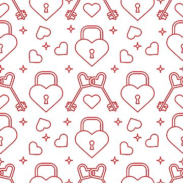 Seamless holiday pattern. Hearts, lock, keys. by aquamarine-p