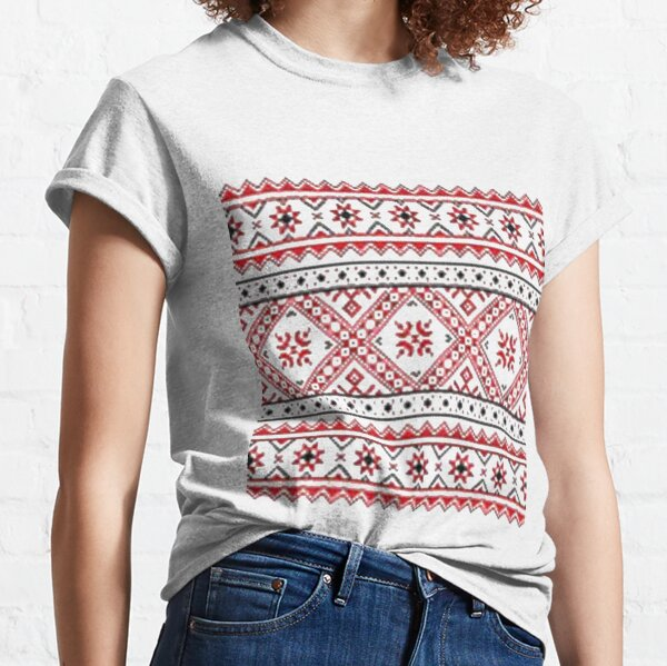 Ukraine Traditional Art, pattern, decoration, embroidery, textile, ornate, craft, tapestry, art, flower, slavic, abstract Classic T-Shirt