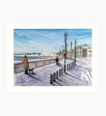 """Footprints in the Snow"" - Burnham-on-Sea, Somerset Art Print"