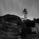 Pre Dawn at Point Lonsdale Lighthouse in Black and White by Jason Green