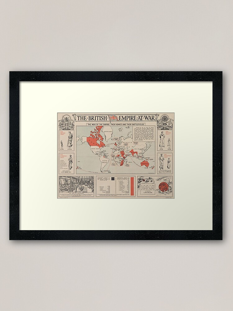 Alternate view of Vintage British Empire World Map (1916) Framed Art Print