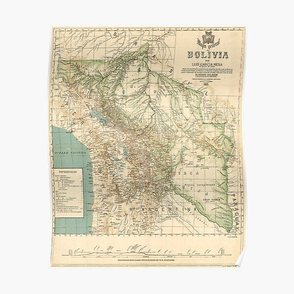 Vintage Map of Bolivia (1905) Poster