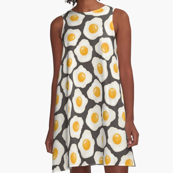 Fried Eggs on Dark Grey A-Line Dress