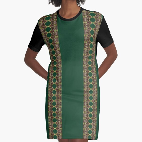 Ancient Traditional Motif (Two Line) Graphic T-Shirt Dress