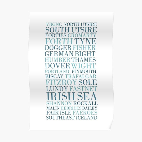 Shipping Forecast as heard of Radio 4 Poster