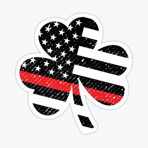 Thin Red Line Irish American Firefighter St Patricks Day Shamrock Flag Sticker