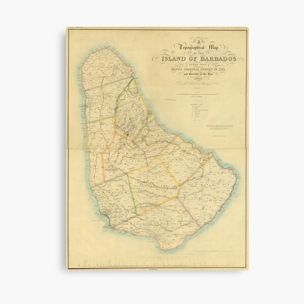 Vintage Karte von Barbados (1846) Leinwanddruck