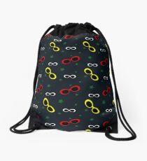 Nineties Oval sunglasses on slate blue Drawstring Bag
