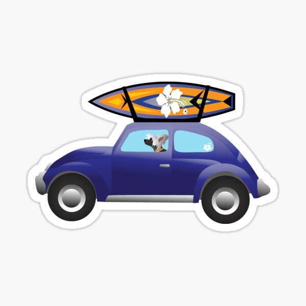 Chinese Crested driving a purple beatle car on the beach with a surfboard on top. Sticker