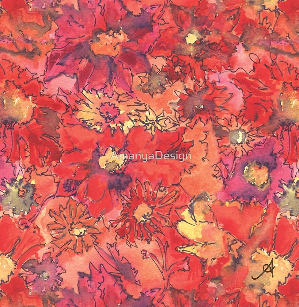 Watercolour Daisies Red Amanya Design by AmanyaDesign