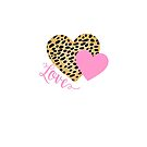 Cheetah Leopard Heart Shape with Pink Love Word  by ragerabbit