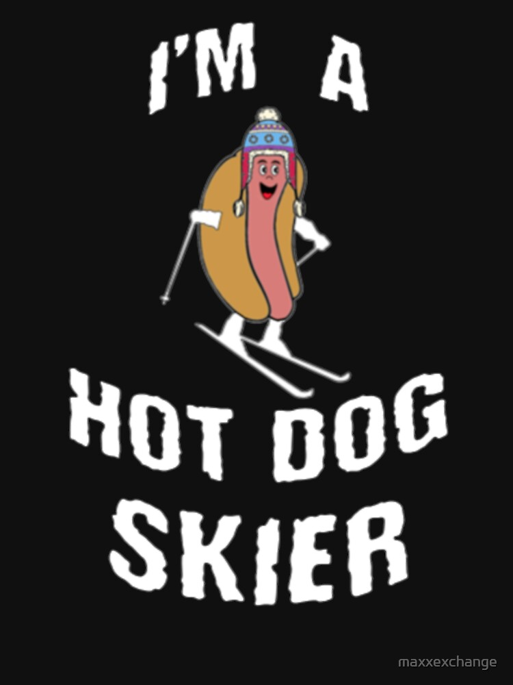 Ski Shirt, Hot Dog Skier, Funny Gift Kids T-Shirt by maxxexchange