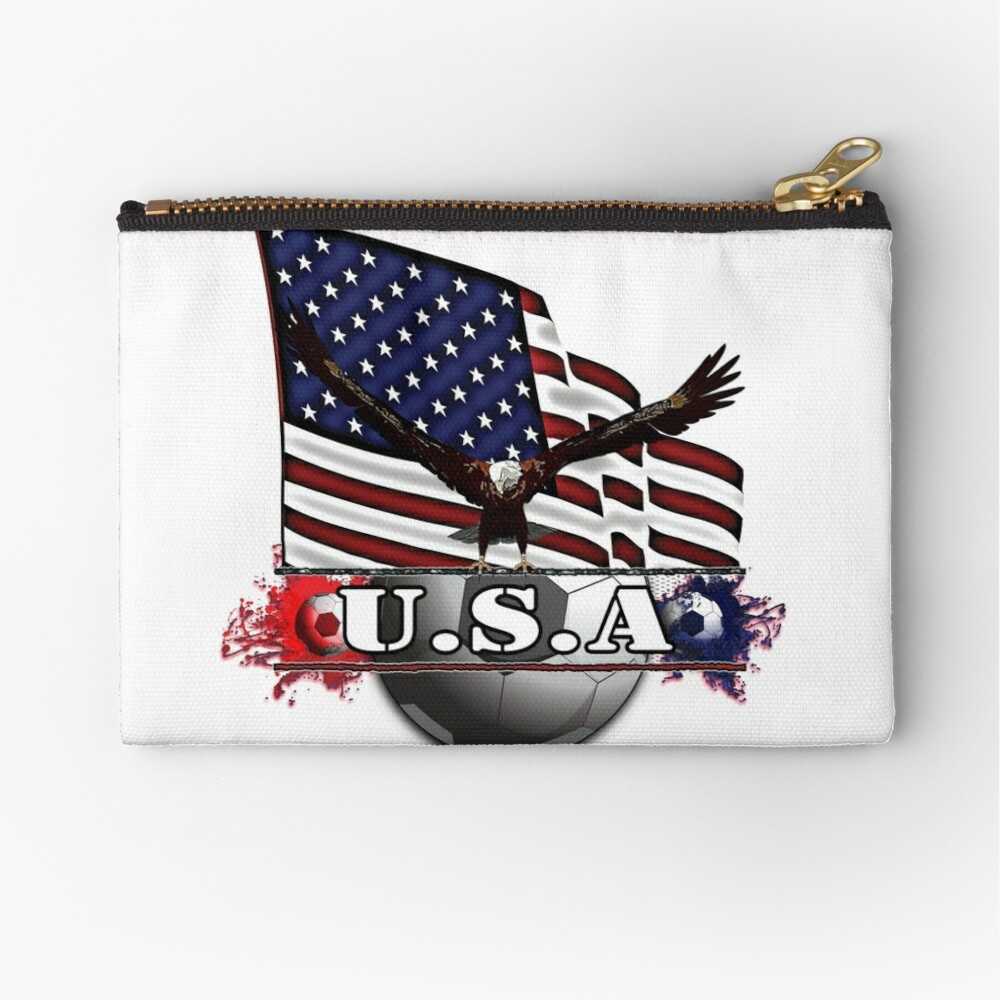 USA Soccer with Eagle & Flag Zipper Pouch