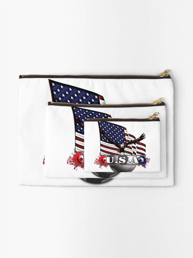 Alternate view of USA Soccer with Eagle & Flag Zipper Pouch