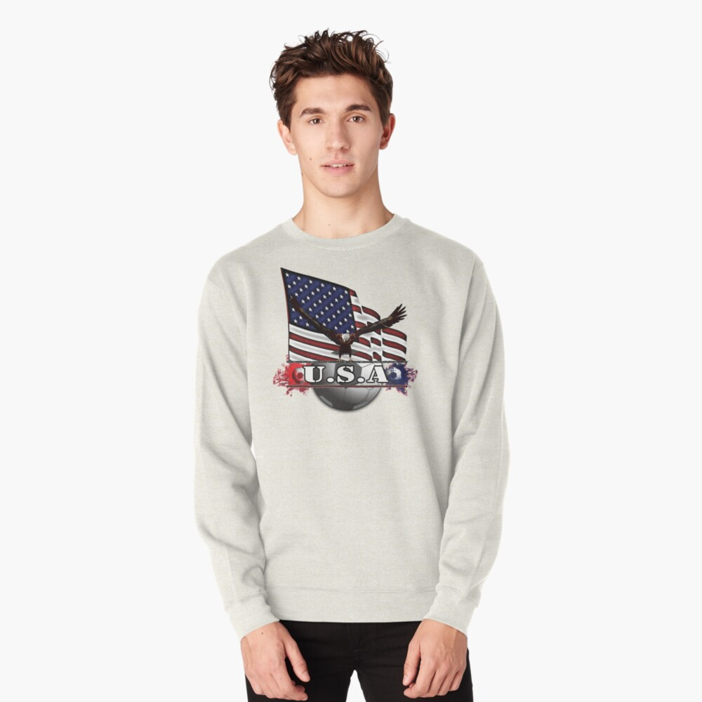 USA Soccer with Eagle & Flag Pullover Sweatshirt