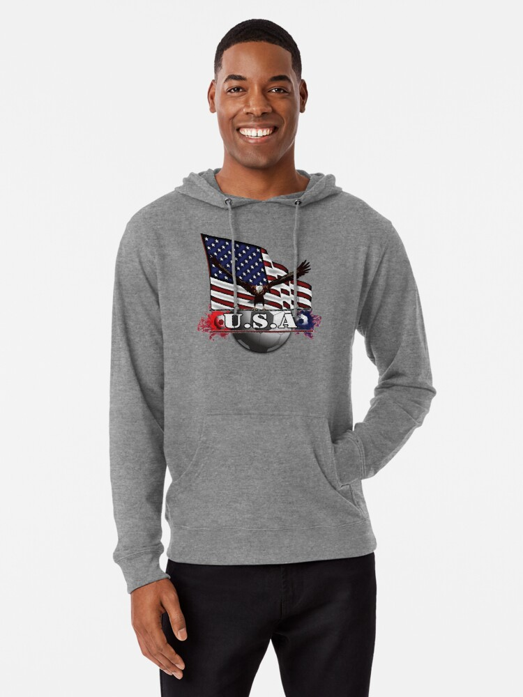 Alternate view of USA Soccer with Eagle & Flag Lightweight Hoodie