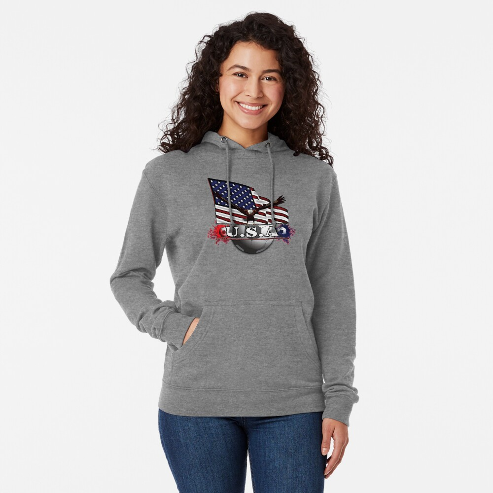 USA Soccer with Eagle & Flag Lightweight Hoodie