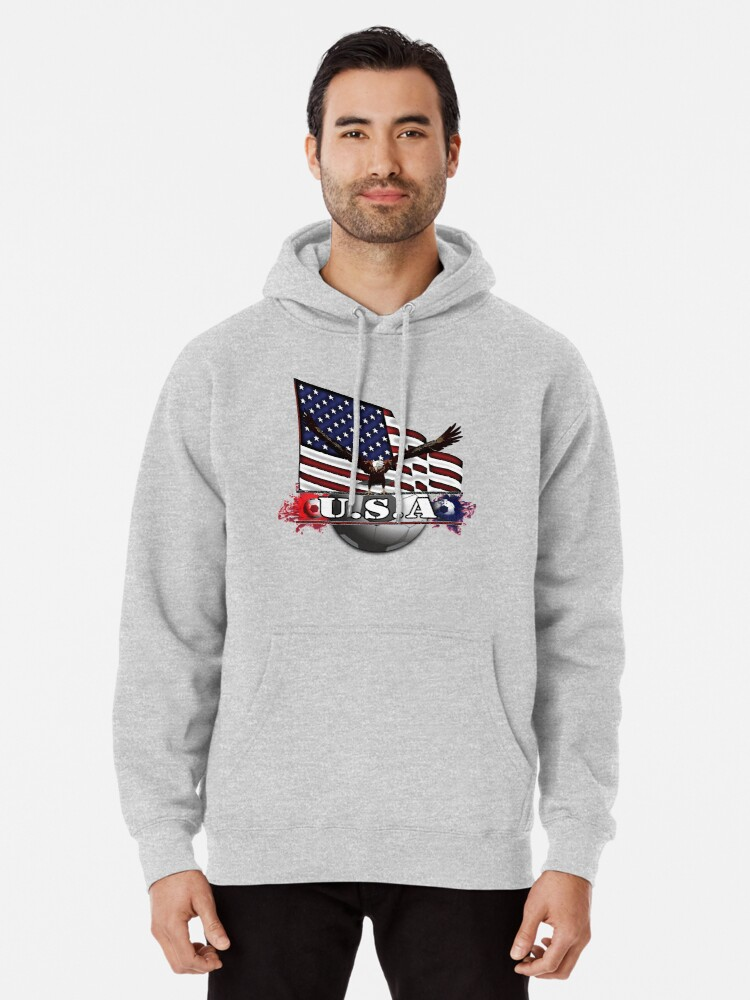 Alternate view of USA Soccer with Eagle & Flag Pullover Hoodie