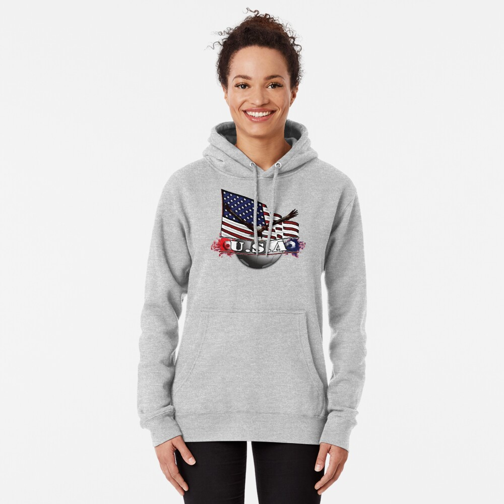 USA Soccer with Eagle & Flag Pullover Hoodie