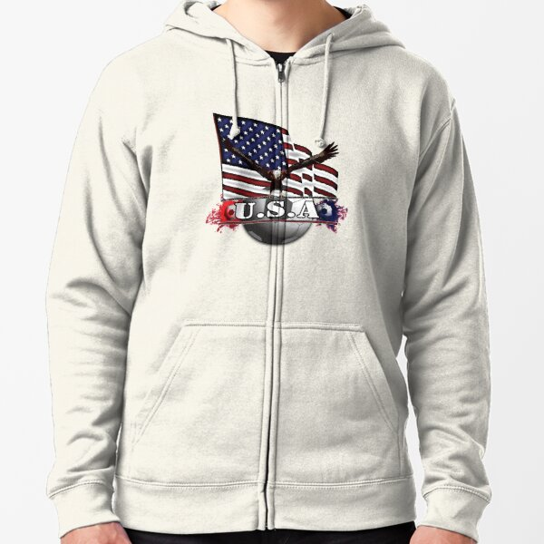 USA Soccer with Eagle & Flag Zipped Hoodie