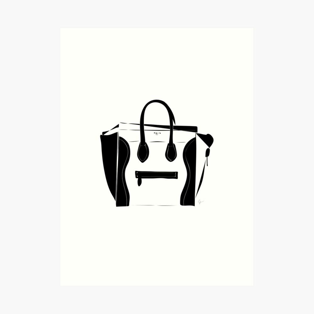 Black and White Luggage Handbag Tote Pattern Art Print