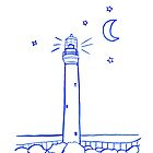 Lighthouse at Night Line Drawing by Sandra Connelly