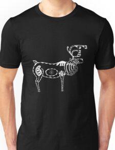 Reindeer / Caribou White on Black Unisex T-Shirt