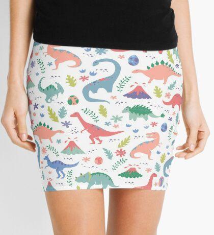 Dinos + Volcanoes in Coral Mini Skirt
