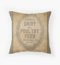 Cojín Diseño de saco de alimentación de aves de corral de lechería estilo vintage de arpillera