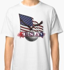 Red White & Blue USA Soccer with Eagle & Flag Classic T-Shirt