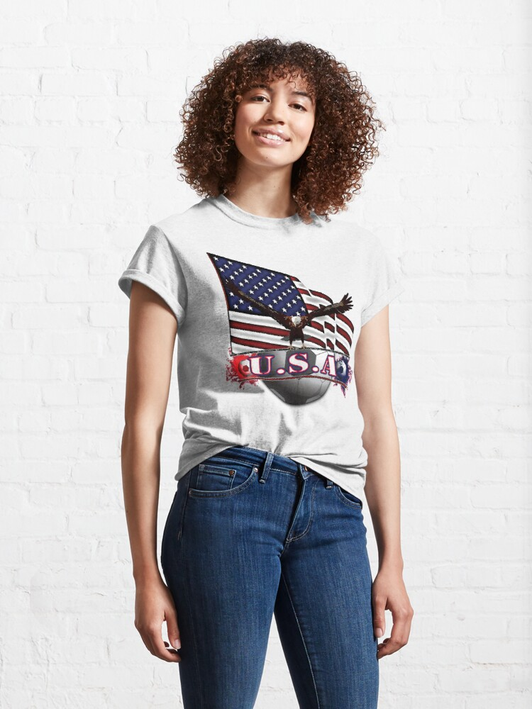 Alternate view of Red White & Blue USA Soccer with Eagle & Flag Classic T-Shirt