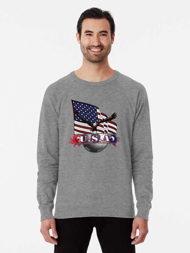 Alternate view of Red White & Blue USA Soccer with Eagle & Flag Lightweight Sweatshirt
