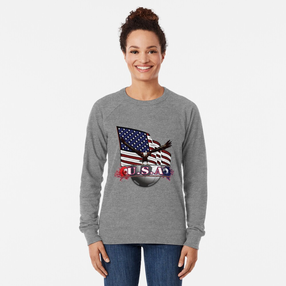Red White & Blue USA Soccer with Eagle & Flag Lightweight Sweatshirt