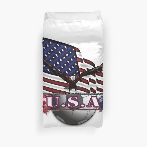 Red White & Blue USA Soccer with Eagle & Flag Duvet Cover