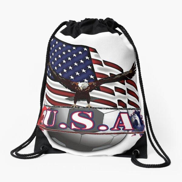 Red White & Blue USA Soccer with Eagle & Flag Drawstring Bag
