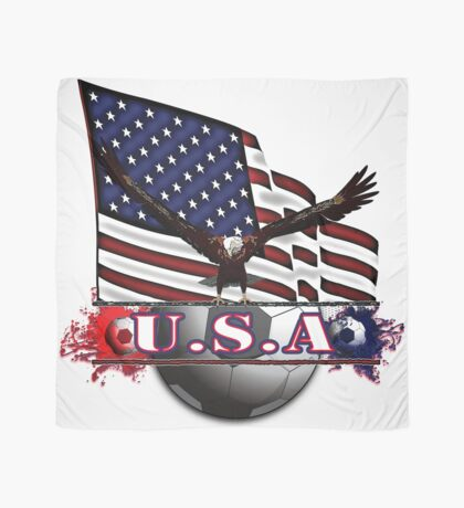 Red White & Blue USA Soccer with Eagle & Flag Scarf