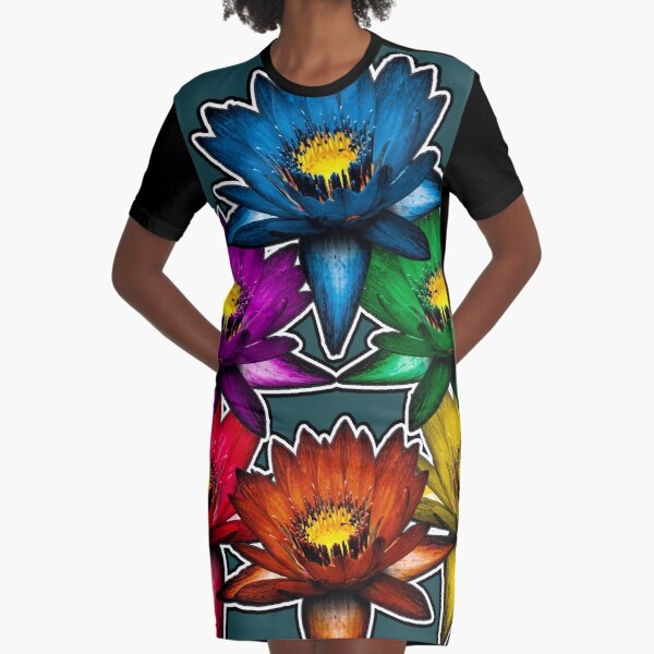 Pride Lilies Pyramid Graphic T-Shirt Dress