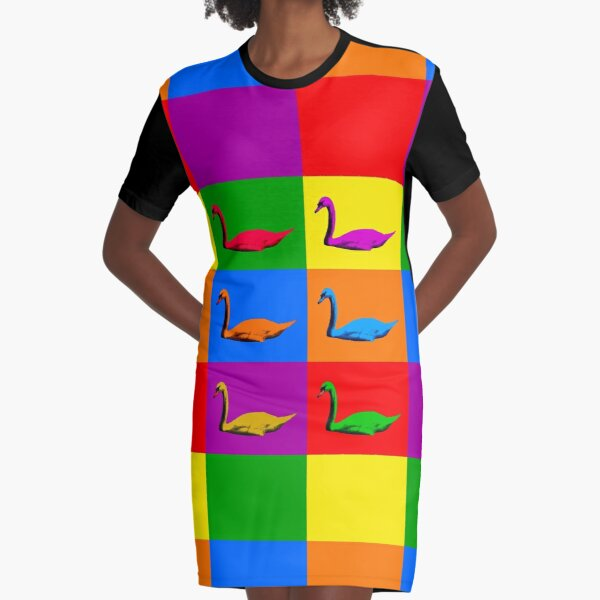 Warhol Pride Swans Graphic T-Shirt Dress