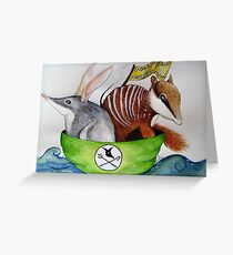 The Bilby and the Numbat went to sea in a beautiful pea green boat Greeting Card