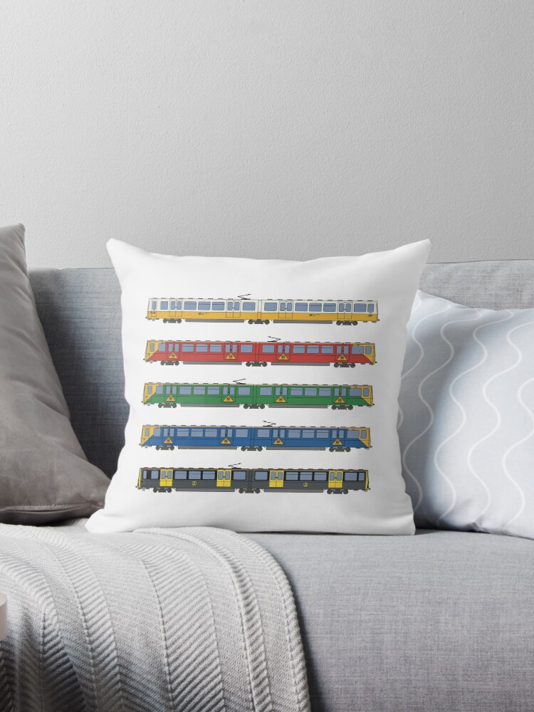 Tyne And Wear Metro Liveries Throw Pillow By Careful Design Redbubble