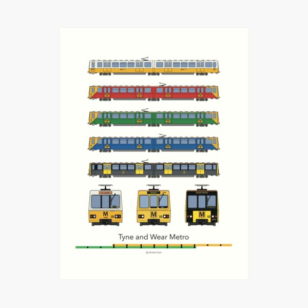Tyne and Wear Metro Liveries Art Print