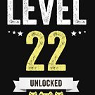 Funny Vintage Level 22 Unlocked Video Gamer Birthday by Jane Keeper