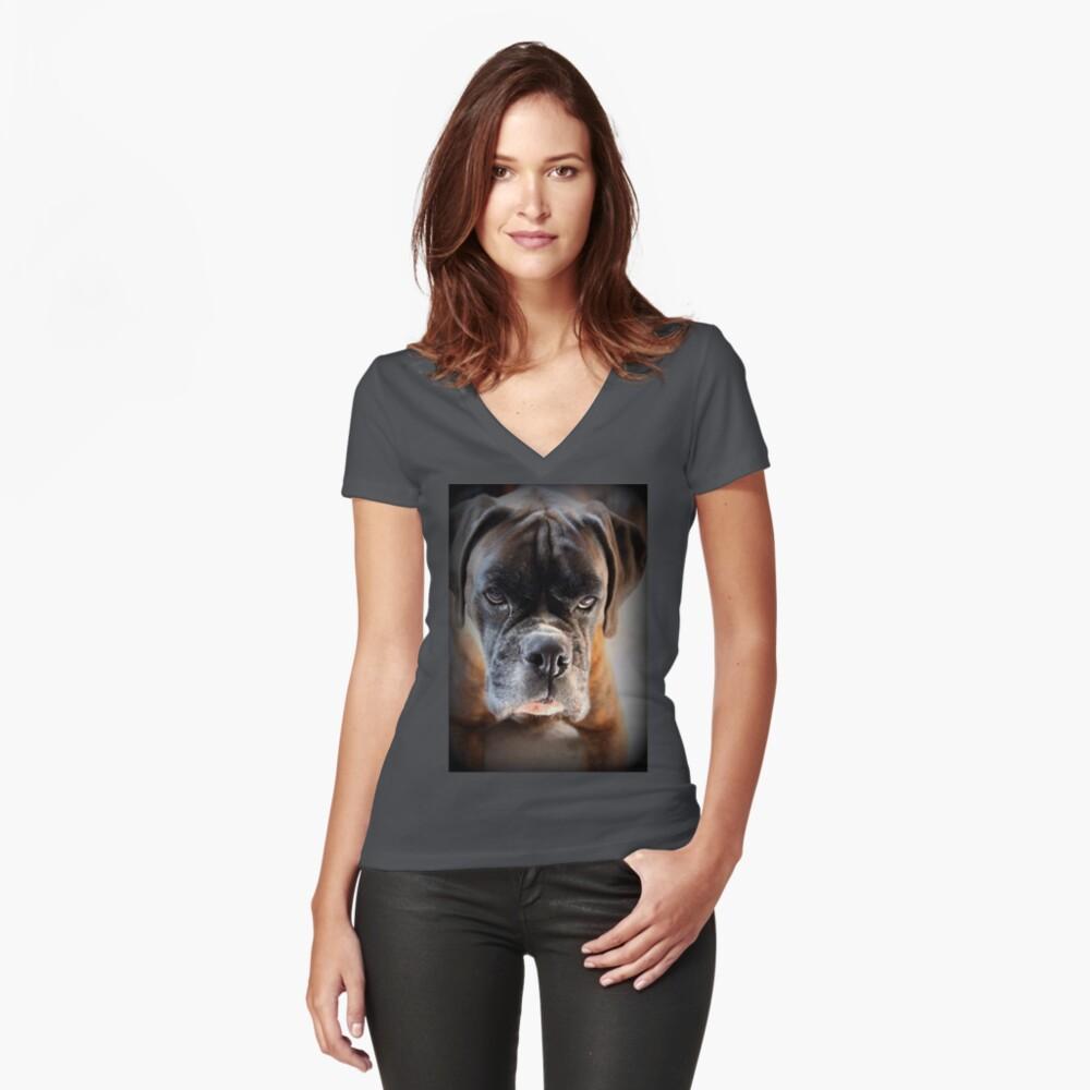 Gehen Sie voran .... Machen Sie meinen Tag ~ Boxer Dogs Series ~ Tailliertes T-Shirt mit V-Ausschnitt