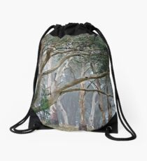 Trees in the mist. Drawstring Bag